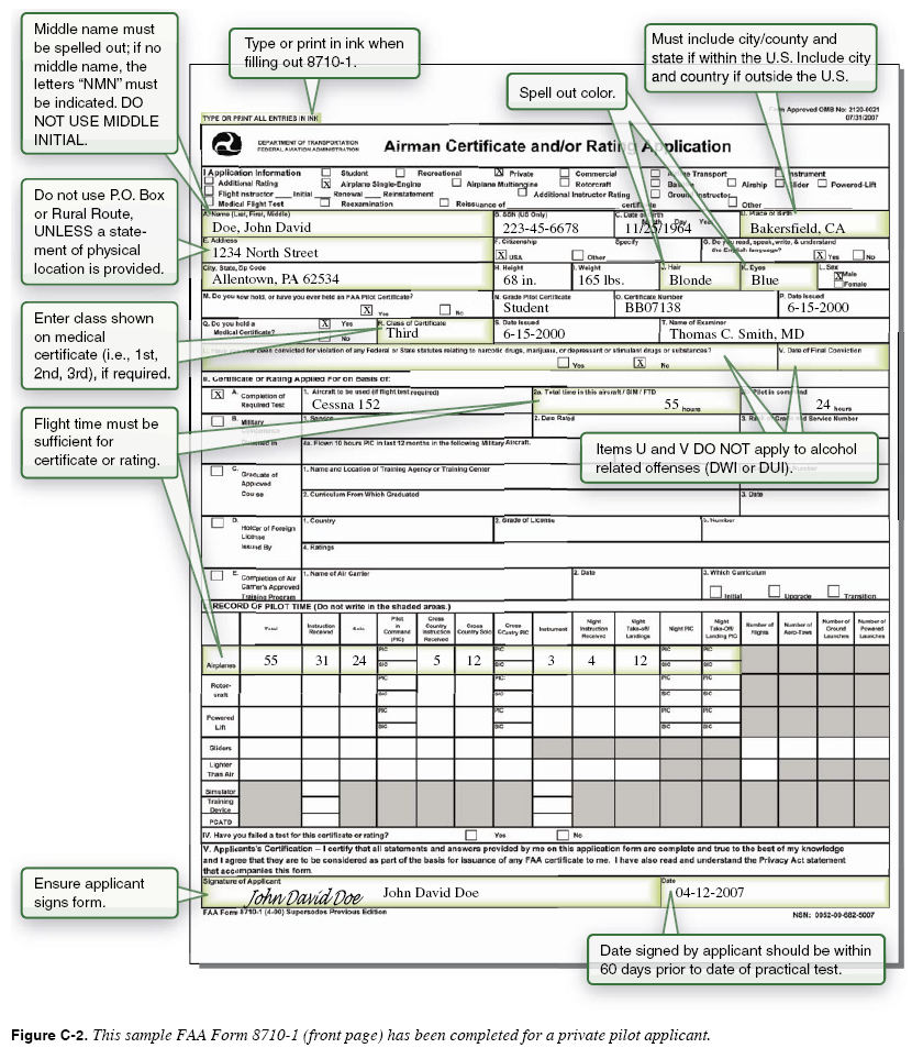 Faa Form 8610 2 Figure 5 137d Sample Of Completed Faa Form 8610 2 ...